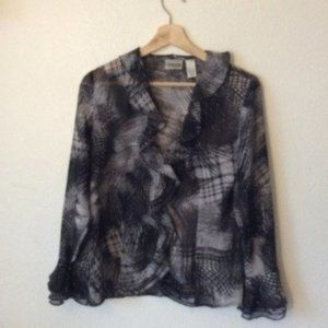 Chico's Black & Grey Flowy Blouse
